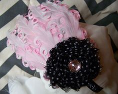 This would be perfect for a photo shoot...even for a newborn :)  Feather and shabby chiffon fascinator.  https://www.facebook.com/SassyPantsFascinators