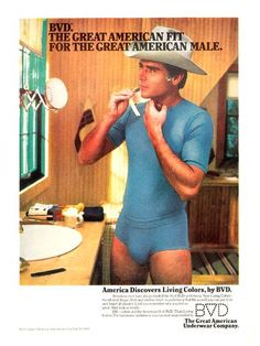 BVD men's underwear, 1980s. Doesn't every man wear a cowboy hat and matching underwear when they shave?