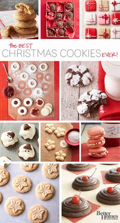 Best collection of Christmas Cookies EVER. Get all the gift-worthy and cookie exchange recipes you need, from Christmas cookie classics like peanut butter blossoms to new favorites like our cherry chip cookies or melty snowmans. Holiday Cookies, Holiday Desserts, Holiday Baking, Holiday Treats, Holiday Recipes, Holiday Foods, Christmas Recipes, Christmas Cookie Exchange, Christmas Sweets