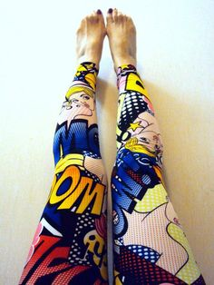 Comic Print Leggings Women's Tights Yoga Pants by GrahamsBazaar, $44.89