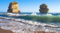 Mighty Monument Rocks On A Beach Beach Wallpaper, Nature Wallpaper, Beach Waves, Ocean Waves, Monument Rocks, Wave Rock, Beach Rocks, Background Pictures, Landscape Art