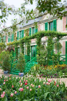 Claude Monet's house and gardens. Claude Monet House, Monet Garden Giverny, Resorts, Giverny France, French Architecture, French Countryside, Enchanted Garden, Garden Planning, Garden Inspiration