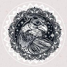 falke: Detaillierte verzierten Mandala Raubvogel Kopf. Leiter der Adler, Falke oder Habicht in den Himmel. Isolierte Vektor-Illustration. Tattoo Kunst, Spiritualität, Boho-Symbol. Ethnische, mystischen Stammes Element für Ihren Einsatz.