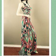 """2X HP Show Stopping Mint & Coral Maxi Stunning design! I am so mad this does not fit me. It is too long (I'm 5'1"""") it has a v neck with flattering rusching down the front. There is a front slit up to thigh. Super silky soft stretch material that does not wrinkle. This dress could fit a TALL Small to a Large. Comes with dust bag. Never worn. I paid over $60 with tax and shipping. It is a loss to me, but hopefully a gain to a fellow posher. Namaste Saved by the dress Dresses"""