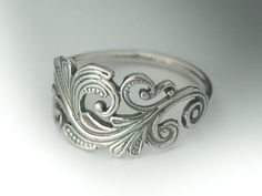 Classic Sterling Silver Art Nouveau Ring. Swirl Scroll Ring via Etsy find more women fashion on misspool.com