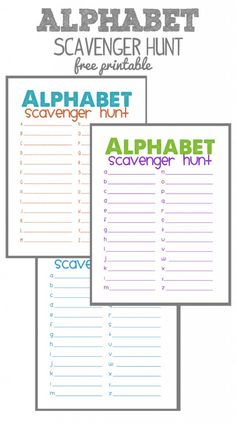 Alphabet Scavenger Hunt Free Printables                                                                                                                                                     More