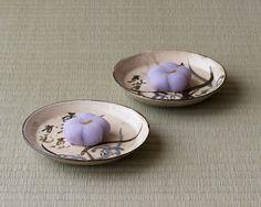 尾形乾山 草花文土器皿 / 塩野(赤坂)桔梗