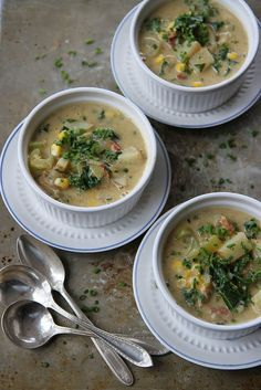Creamy Potato Chowder with Bacon, Corn and Kale- (dairy free, Gluten Free)