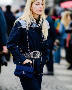 Paris Fashion Week Street Style Fall 2018 | Statement belt chanel bag blue