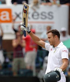 F du Plessis (SA) 137, celeb 2nd Test hundred, vs New Zealand, 2nd Test, Port Elizabeth, 2nd day, Jan 12, 2013