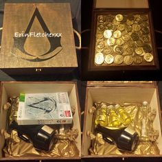 Assassins Creed Gift For Gamer Boyfriend My boyfriends obsessed with Assassin Creed, the new game was due out the day before our 1 year anniversary so I took the chance to be a little creative. First I brought an ordinary wooden box, stained to to make it look old. Placed a sticker of the Assassins Creed symbol in the centre. Next I filled it with; gold coins (game currency), Bottle full of ginger beer (rum), Vile's of Mountain Dew (medicine), A message in a bottle, and of course the game.