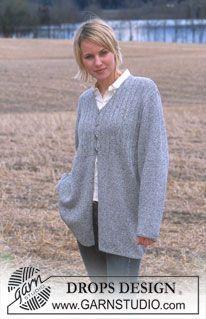 """DROPS Lange vest van """"Silke-Tweed"""". ~ DROPS Design"""