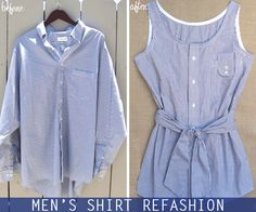 DIY Men's Shirt Refashion --> Love this! Check out old shirts in thrift stores & Dad's old stuff! Diy Clothes Refashion, Diy Clothing, Thrift Store Refashion, Refashioned Clothing, Old Clothes, Sewing Clothes, Diy Kleidung, Diy Vetement, Old Shirts