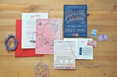 Old World Invitation: Fun, vintage invitations keep things simple with a hand-drawn map and RSVP card.