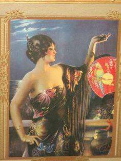 Very Scarce Gene Pressler Art Deco Image Lantern Glow Beautiful Frame Also | eBay