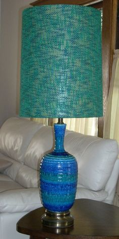 Mid Century Modern Italian Blue Art Pottery Lamp by diantiques, $450.00