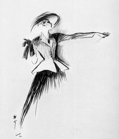 Sketch of the 'New Look' by Christian Dior