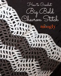 Learn how to crochet the Big Bold Chevron Stitch with this video tutorial. Additional images, written instructions and a crochet chart Chevron Crochet, Crochet Ripple, Crochet Afgans, Manta Crochet, Love Crochet, Diy Crochet, Crochet Crafts, Crochet Hooks, Crochet Projects
