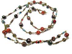 Boho necklace/Gypsy necklace/Cloisonne necklace/Beaded necklace/Long necklace/Bohemian  necklace/Modern necklace/Multi layered necklace by mihacreation on Etsy