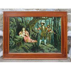 Stampa su carta raffigurante scena romantica realizzata nei primi del '900, con cornice originale coeva in mogano.