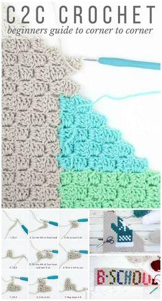 Crochet Corner To Corner Crochet (C2C) For Beginners - 12 Best Guides to Learn Corner to Corner Crochet or C2C Crochet - DIY & Crafts