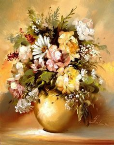 Bouquet, Flower Paintings : Summer is over, we can only remember the bright colors of the season and wait when it comes again. However in the bouquets of talanted artist Széchenyi Szidón