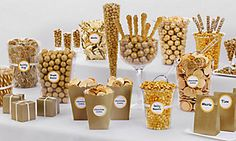 Wedding Candy Buffet Supplies – Wedding Candy Bar – Party City - New Site Golden Birthday, 60th Birthday Party, 50th Party, Candy Bar Party, Candy Bar Wedding, Wedding Gold, Gold Candy Buffet, Candy Buffet Tables, Candy Buffet Signs