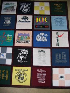 Quilt from favorite t-shirts with sashing.  Custom 9-patch blocks.