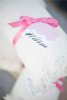Great favor idea. I love the chevron tag.