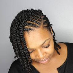 60 Easy and Showy Protective Hairstyles for Natural Hair Protective Twisted Bob Style Flat Twist Hairstyles, Natural Braided Hairstyles, Protective Hairstyles For Natural Hair, Natural Hair Braids, African Hairstyles, Vintage Hairstyles, Braided Updo, Kid Hairstyles, Wedding Hairstyles