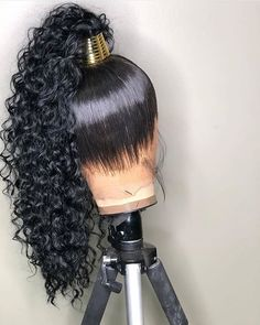 Lace Front Black Wigs Natural Color African American Kinky Straight Wigs African American Kinky Straight Wigs - Little black girl hairstyles Afro Wigs, Curly Wigs, My Hairstyle, Wig Hairstyles, Frontal Hairstyles, Natural Hairstyles, Scene Hair, Kinky Straight Wig, Straight Weave