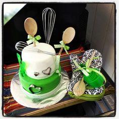 Kitchen theme bridal shower cake