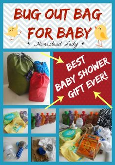 Bug Out Bag for Baby - 72 hour kit for baby - Grab and Go Bag for Baby - whatever you call it, it makes the best baby shower gift ever - make sure baby is prepared!  www.homesteadlady