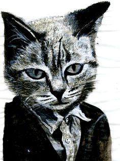 anthropomorphic Cat Painting