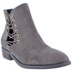 LILIANA Lorisa Corset Bootie (€25) ❤ liked on Polyvore featuring shoes, boots, ankle booties, grey, lace-up booties, faux suede lace up booties, ankle boots, short heel boots and faux suede ankle boots