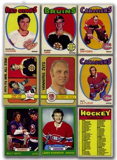 O-Pee-Chee Complete Card Set Collection of 9 Ken Dryden, Hockey Posters, Bobby Hull, Vintage Toys, Vintage Clothing, Collectible Cards, Collector Cards, Hockey Games, Detroit Red Wings