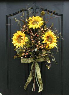 Sunflower Bouquet, Front Door Decor, Summer Wreath, Wild Sunflowers, Summer/Fall Bouquet, Sunflower Arrangement, Yellow Sunflowers via Etsy: