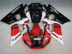 YAMAHA YZF-R6 1998-2002 ABS Verkleidung - Rot / Schwarz / Weiß #r6verkleidung #r6rj03verkleidung