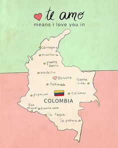 I Love You in Colombia // Nursery Art Map by LisaBarbero on Etsy