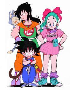 Goku, Yamcha, Bulma and Puar - Dragon Ball