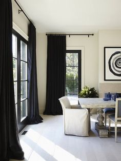 3 Current Fashion Trends Translated To Decor (And How To Make Them Work in Your Home) | Apartment Therapy Curtains Living, Curtains With Blinds, High Curtains, Window Blinds, Design Studio, House Design, Black Window Frames, Door Frames, Living Room Furniture Arrangement