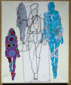 Buy Catwalk Purple, Drawing by Rosie James on Artfinder. Human Figure Artists, Rosie James, Fashion Illustration Collage, A Level Textiles, Art Terms, Free Machine Embroidery, Textile Artists, Textile Patterns, Fabric Art