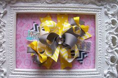 Hair Bow, Colorful Hair Ribbon, Custom Baby Hairbow, Ribbon Hair Clip, Baby Hair Bow Clip, Yellow and Gray Chevron Bow