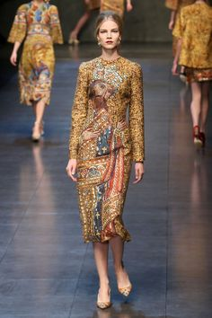 A model walks the runway at the Dolce & Gabbana fashion show as part of Milan Fashion Week Womenswear Fall/Winter 2013/14 on February 24, 2014 in Milan, Italy.