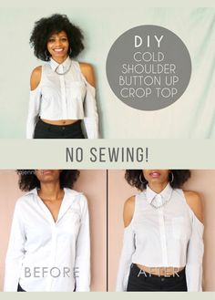 Easy way to transform a regular button up shirt into a stylish cold shoulder crop top with NO SEWING! ✂ clothes refashion DIY Cold Shoulder Button-Up Crop Top (No Sewing Required) Diy Crop Top, Crop Tops, Diy Kleidung Upcycling, Mode Turban, Diy Clothes Refashion, No Sew Refashion, Diy Clothes Videos, Diy Clothes Tops, Diy Tops