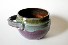 Purple and Green Soup Bowl  Chili Crock  holds 14 by MissPottery