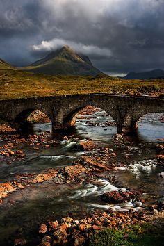 Marsco and the Old Bridge at Sligachan, Isle of Skye. Scotland.