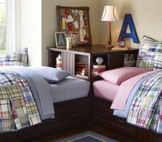 shared bedroom inspiration-- use matching quilts but different colored sheets for boy/girl
