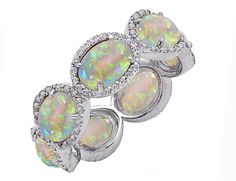 ct Natural Opal and Diamond Eternity Band Sterling Silver - Rings - Sterling Collection. Opal Band, Opal Rings, Silver Rings, Opal Gemstone, Gemstone Rings, Jewelry Accessories, Jewelry Design, Opal Jewelry, Jewellery