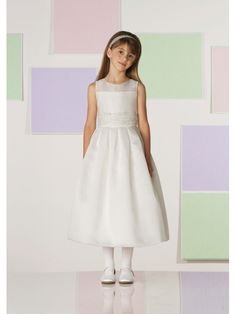 Gathered Illusion Bodice Satin And Honeycomb Organza Tea-Length A-Line Flower Girl Dress JC110381 - Wedding Dress Shop